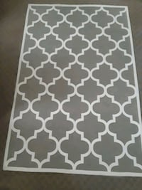 Gray white print modern farmhouse 4x6 area rug