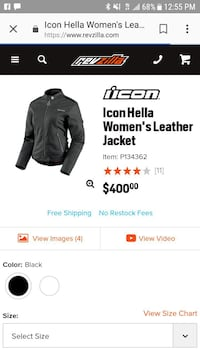 black Icon Hella leather zip-up jacket screenshot Beaverton, 97006