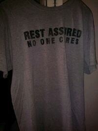 gray and black rest assured-printed crew-neck t-shirt