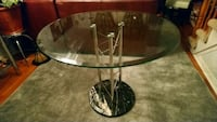 Round Glass table with marble base