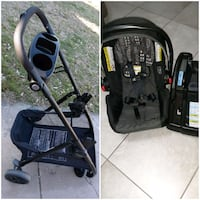 Car seat with car base and folding stroller like new