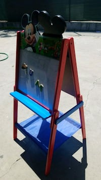 blue and red wooden easel Bell, 90201