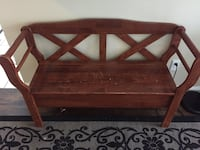 Brown wooden bench with storage compartment Brampton, L6V 3M6
