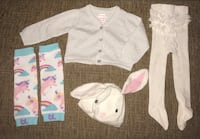 Baby girl 3-6 months bunny hat, leg warmers, frilly tights & cardigan. Pu at Kipling and highway 7 Woodbridge  Vaughan, L4L 1Z2