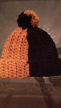 Black and Gold Corcheted Beanie.  New York, 11373