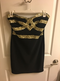 Black and gold strapless dress