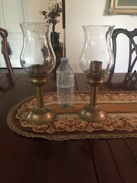 two brass-colored candle holders Aurora, L4G 7K3