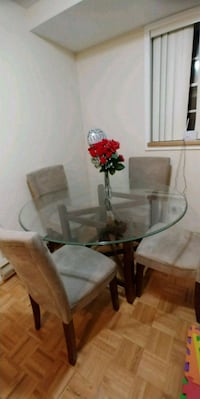 Beautiful dinning set with glass table and chairs  Toronto, M9R 3T1