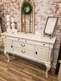 Used Cream Distressed Buffet Sideboard For Sale In