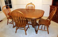 7 Piece Oak Dining Set With China Cabinet WOODBRIDGE