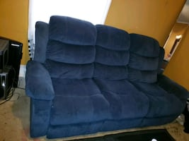 2pc blue couch and loveseat set