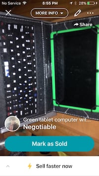 Green android tablet with black keypad case screenshot