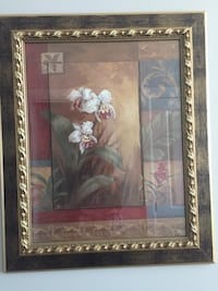 white and pink flower painting with brown wooden frame