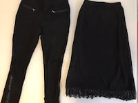 Beautiful crochet skirt xs/black pants pleather trim in small 788 km