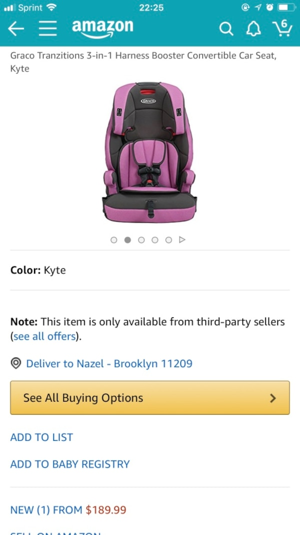 Toddlers Purple And Black Graco 3 In 1 Harness Booster Convertible Car Seat Screenshot
