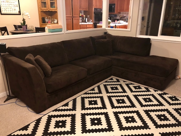 Used Brown Micro Suede Sectional Sofa With Throw Pillows For In Santa Clara Letgo