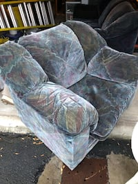 gray and white floral fabric sofa chair Laval, H7T 0A9