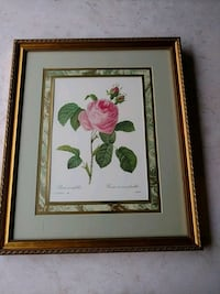 brown wooden framed painting of white and pink flowers Plainview