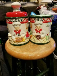two white-and-red ceramic canisters 2 for 8.00 Stockton, 95207