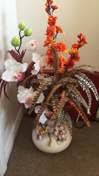 white Orchid and orange faux flower centerpiece 537 km