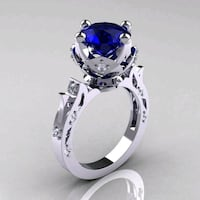 Silver and sapphire ring 566 mi