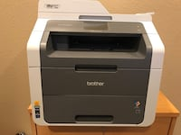 white and black Brother multifunction printer