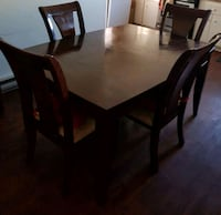 rectangular brown wooden table with six chairs dining set Montreal, H3S