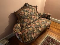 Vintage Victorian Settee with wood carved frame. In great condition and is from late 1800s.  Hackettstown, 07840