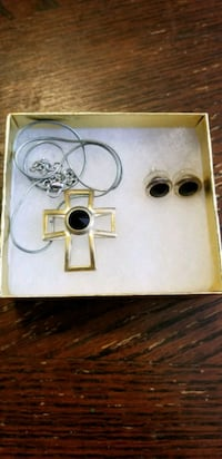 Gold and Black Cross Necklace and Earring Set Hedgesville, 25427