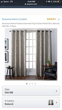 Exclusive Home Finesse Grommet Top Curtain Panel Pair, Natural,54Wx108L, 2 Piece Middletown, 21769