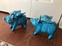 Two blue ceramic flying pig  figurines Columbia, 21045