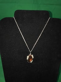 """26"""" SILVER ROPE CHAIN WITH MEXICAN FIRE OPAL LIKE STONE 925 Silver 12.3g 73107"""