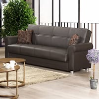 BROWN PU LEATHER SOFA BED WITH UNDERNEATH STORAGE NEW !!! Clifton, 07013