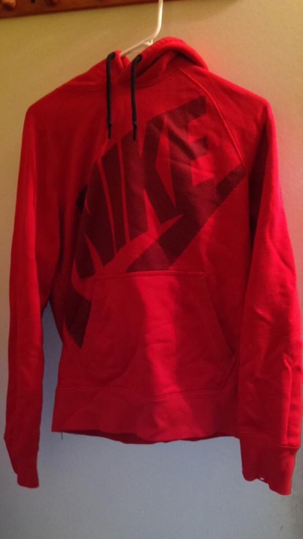 red Nike pull-over hoodie