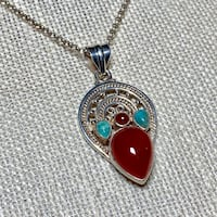 Genuine Navajo Sterling Silver Turquoise Coral Pendant with Rolo chain Ashburn, 20147