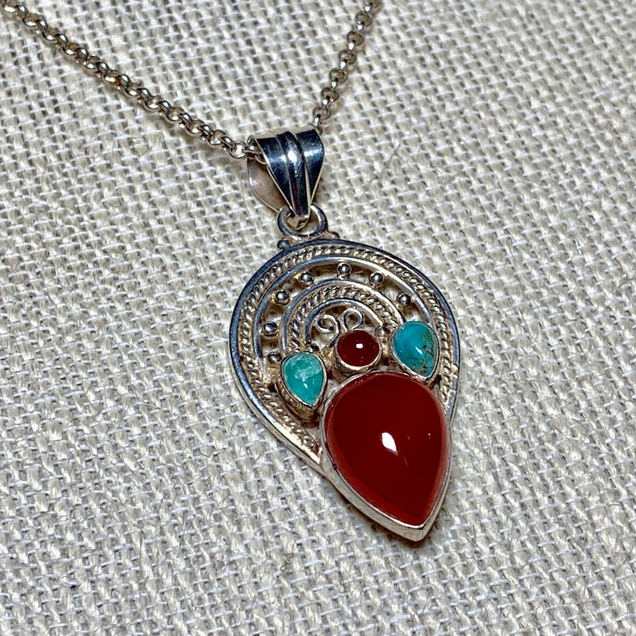 Genuine Navajo Sterling Silver Turquoise Coral Pendant with Rolo chain
