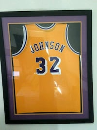 Magic Johnson framed jersey signed PSADNA approved Los Angeles, 90018