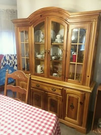 brown wooden china cabinet with glass Philadelphia, 19135