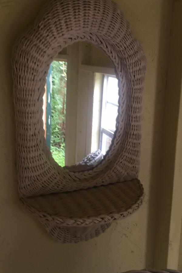 Wicker chair and matching mirror with shelf- lovely wicker 8b531b3f-9135-463e-9934-9e35bed5dbc8
