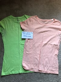 Green and peach t shirts