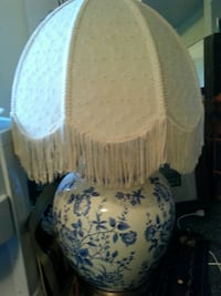 white and blue floral ceramic vase with white fringe lampshade table lamp North Saanich, V8L 3Z5