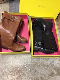 two black and brown Kenneth Cole Reaction leather belt-strap boots with boxes size 8and 1/2