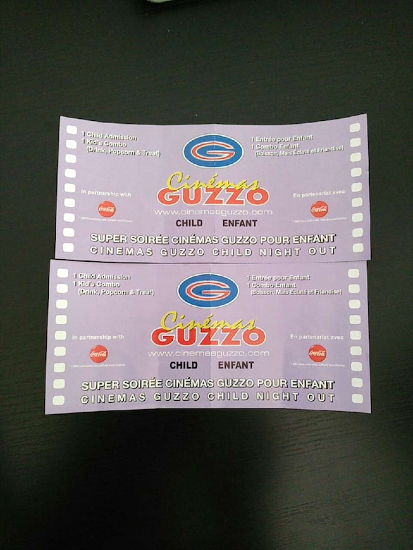 c3cca0714 Used two cinema guzzo child gift card for sale in Laval - letgo