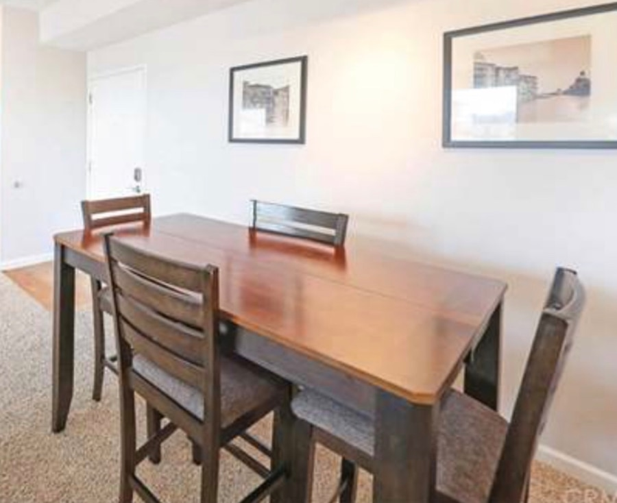 rectangular brown wooden table with six chairs dining set for sale  Anaheim