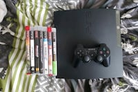 Playstation 3 with 7 games 1 controller and tv, power cables