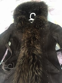 Real fur and leather winter coat