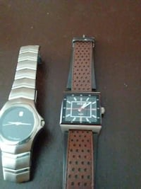 silver analog watch and square black bezel analog watch with brown leather strap