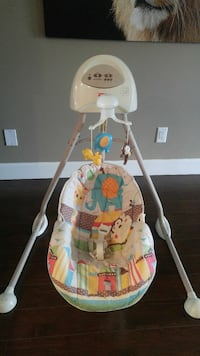 white multicolored Fisher-Price cradle'n swing Burnaby