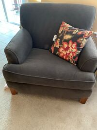 Brown fabric chair and sleeper sofa with pillows. Glenn Dale, 20769
