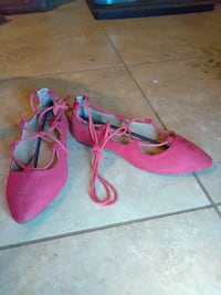 pair of pink suede pointed-toe heeled shoes Chino, 91710